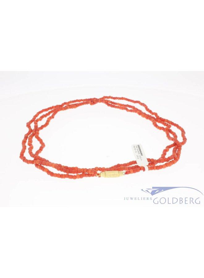 Vintage precious coral necklace 140cm! 3-4mm