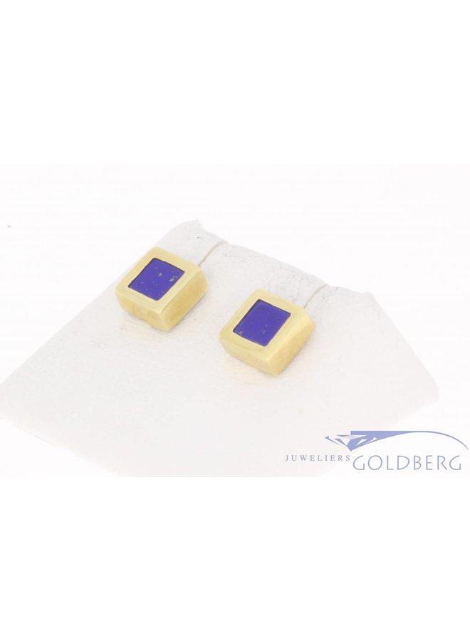 Vintage 14k gouden vierkante oorstekers met lapis lazuli