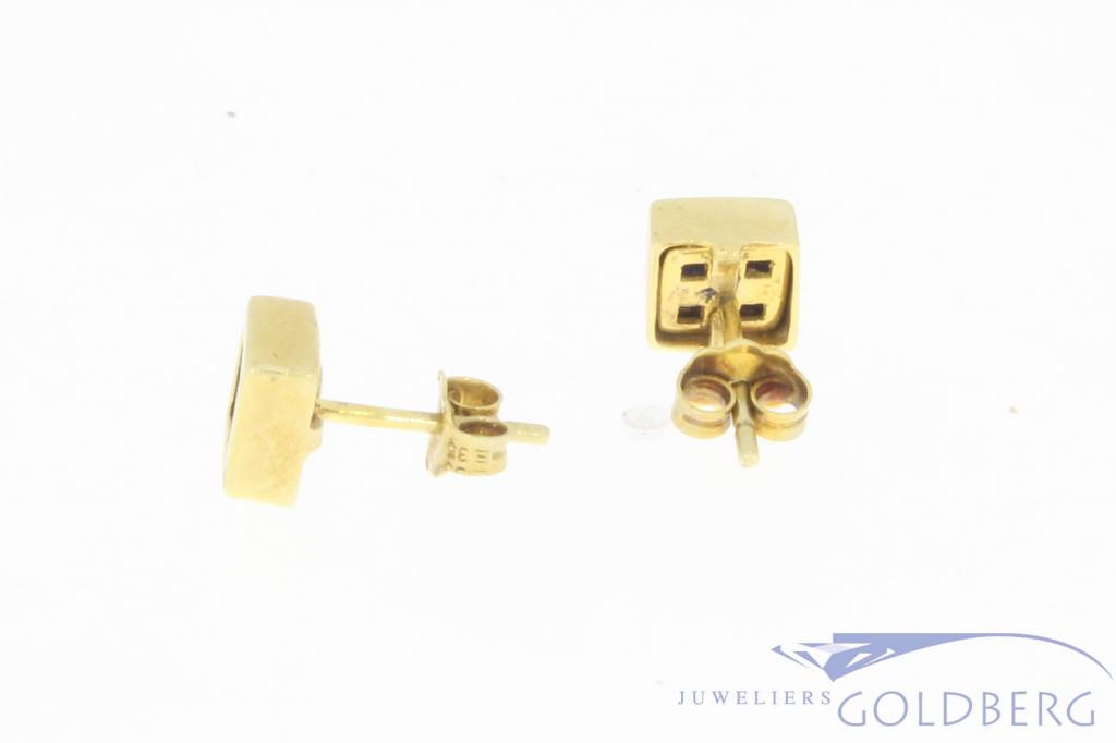 Vintage 14 carat gold square earrings with Lapis Lazuli