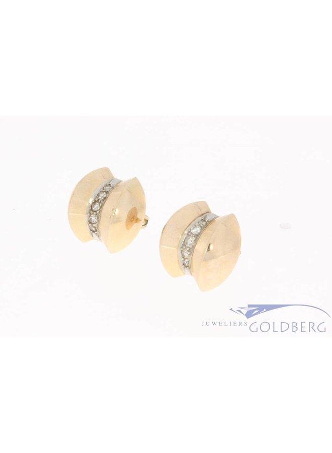 Vintage 18k gouden oorstekers met ca. 0.23ct diamant