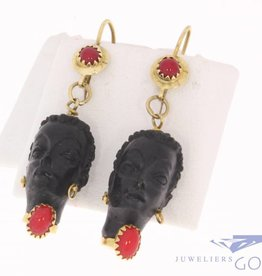 Vintage Italian 18 carat yellow gold Corletto  earrings with black head ebony