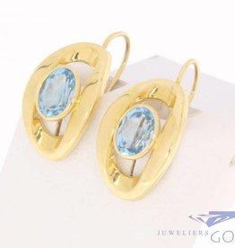 Vintage 18k gouden oorhangers met aquamarijn