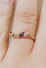 14 carat rose gold ring with 0.02ct brilliant cut diamond