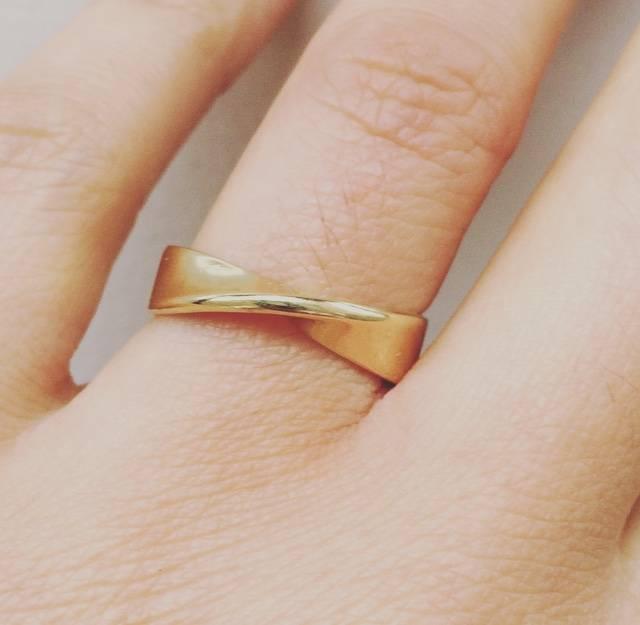 Vintage 14k geelgouden gedraaide ring