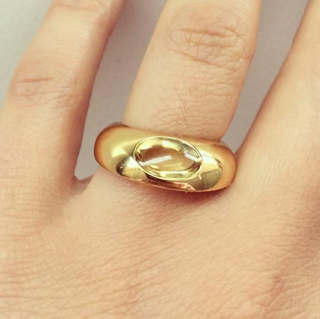 Vintage 18k gold Georg Jensen ring with citrine