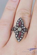 Antieke 14k gouden ring met ca. 0.84ct diamant en robijn