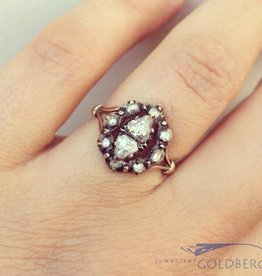 antique 14 carat gold ring with rose cut diamonds