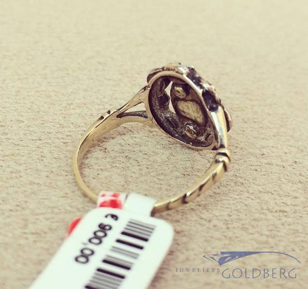 antique 14 carat gold ring with rose cut diamonds