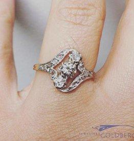 Antieke 18k gouden ring met roos geslepen diamant