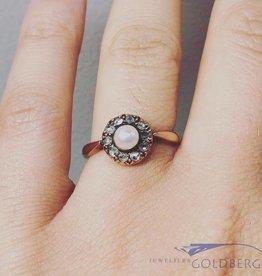 Antieke 14k gouden ring met parel en ca. 0.20ct roos geslepen diamant