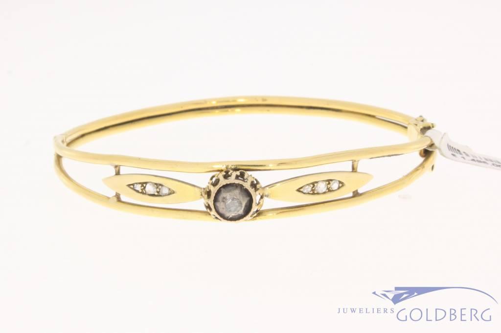 Antieke 18k gouden slavenarmband met roos geslepen diamant 1814-1953