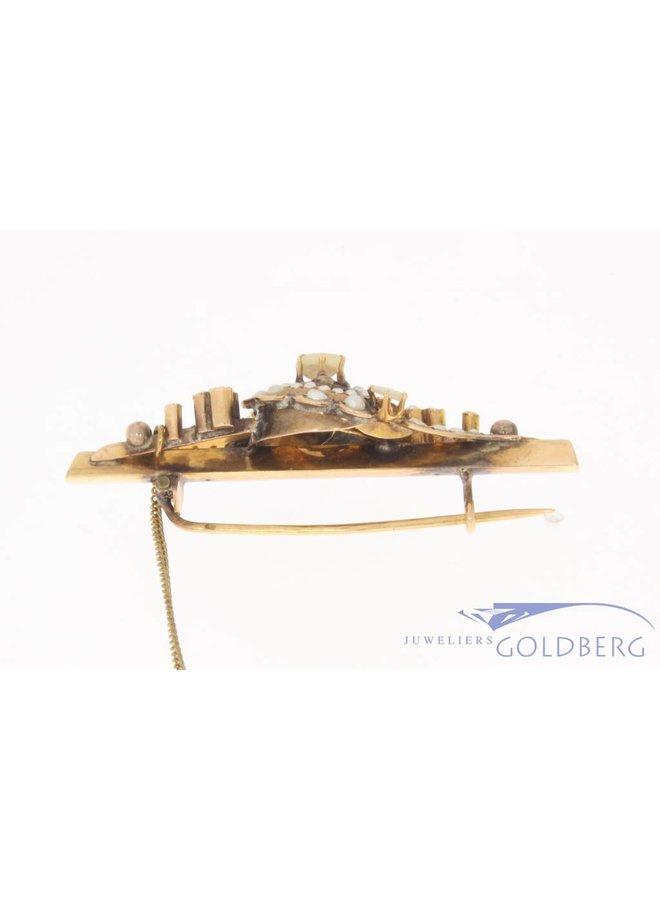 Antieke 14k gouden broche met steenparel