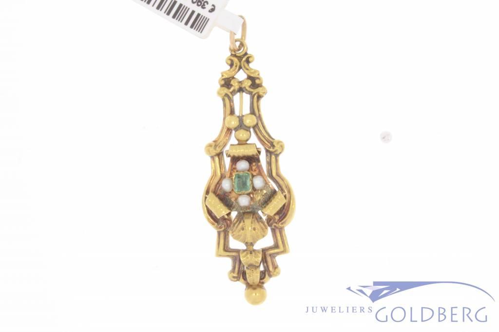 Antieke 18k gouden hanger met smaragd en steenparel