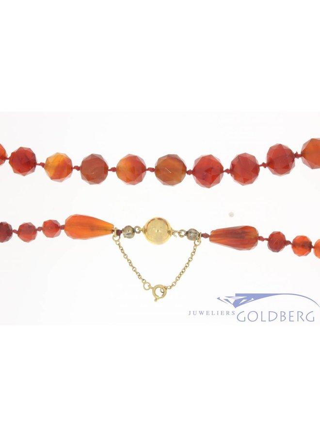 Antique carnelian necklace with 14 carat golden lock