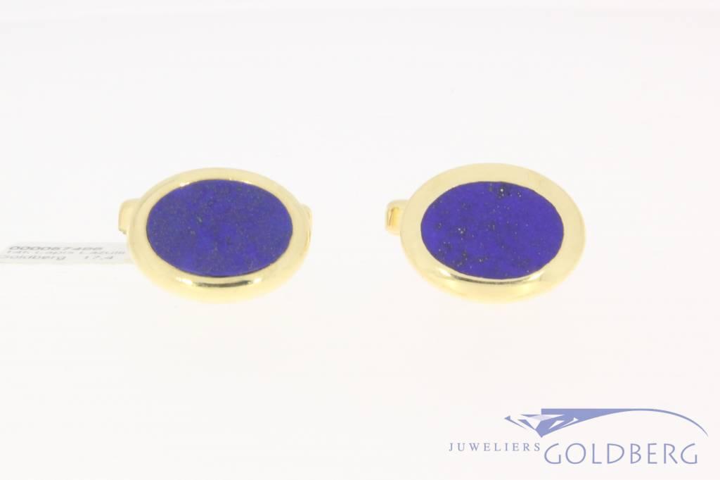 Vintage 14k gouden manchetknopen met lapis lazuli