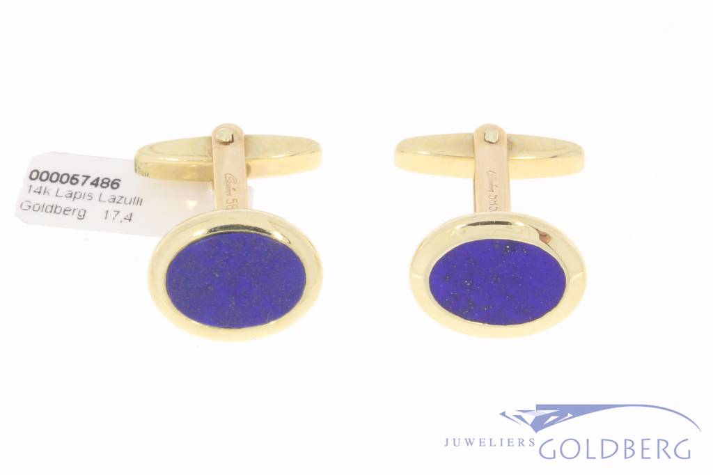 Vintage 14 carat gold cufflinks with Lapis Lazuli