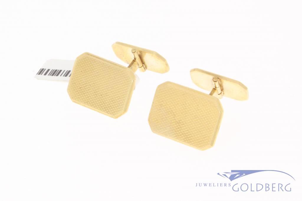 Vintage 14 carat gold rectangular cufflinks