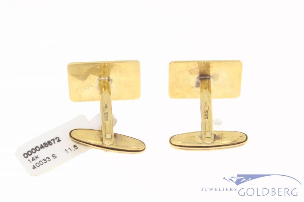 Vintage 14 carat gold adorned cufflinks