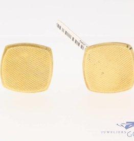 Vintage 14k gouden bewerkte vierkante manchetknopen