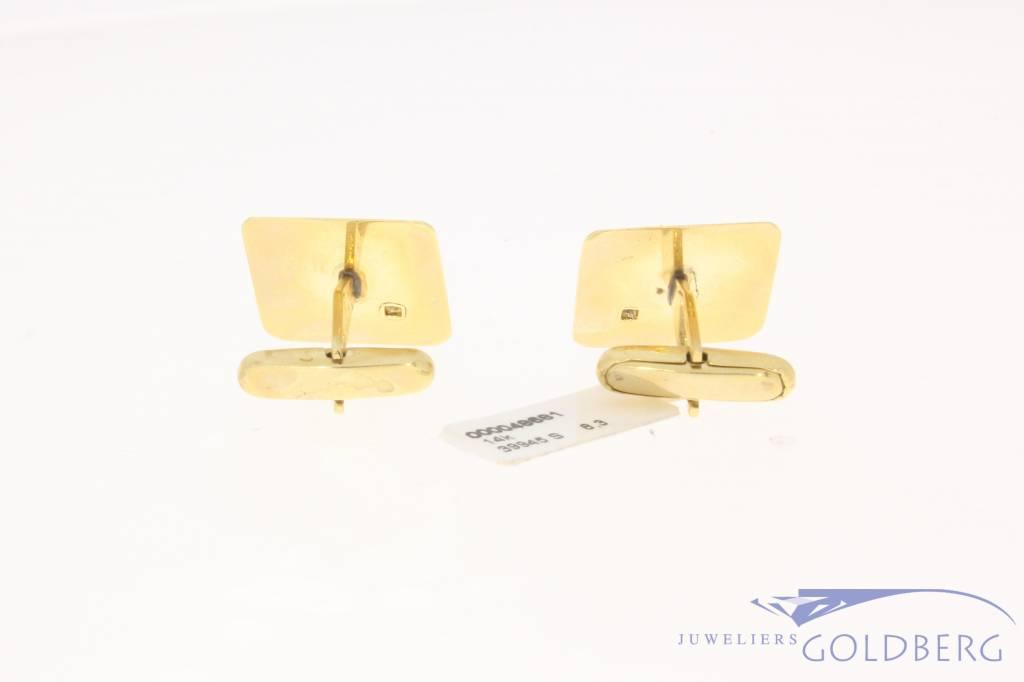 Vintage 14k gouden vierkante manchetknopen met diamant