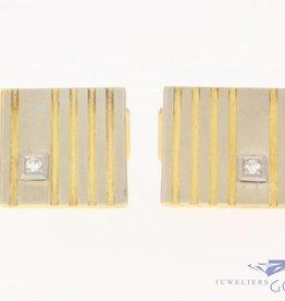 Vintage 14 carat bicolor gold cufflinks with ca. 0.10ct brilliant cut diamond