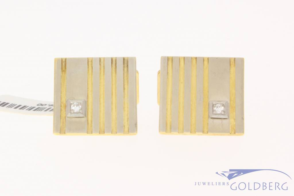 Vintage 14k bicolor gouden manchetknopen met ca. 0.10ct briljant
