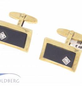 Vintage 14k gouden manchetknopen met onyx en zirconia