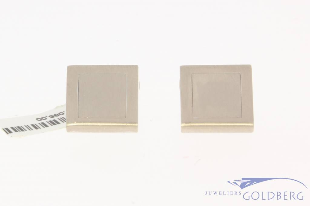 Solid vintage 18 carat white gold matted cufflinks