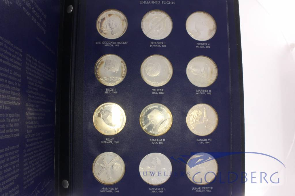 America in Space Franklin Mint 36 delige set zilveren penningen 1970