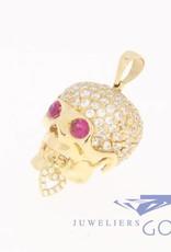 18k gouden schedel met zirconia