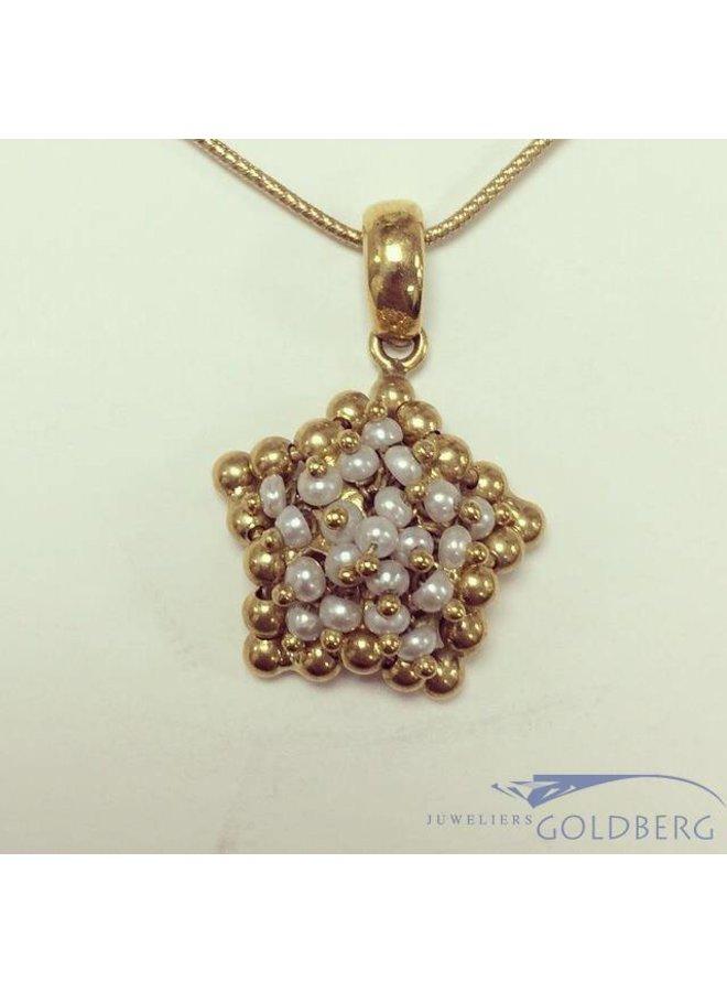 Vintage 18k gouden stervormige hanger met parel