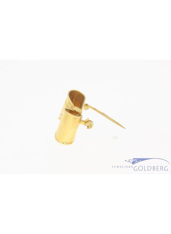 Vintage 18k gouden strik broche met ca. 0.035ct briljant geslepen diamant