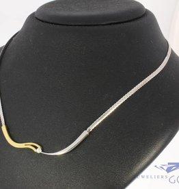 Vintage 14k bicolor gouden choker collier met ca. 0.05ct briljant geslepen diamant
