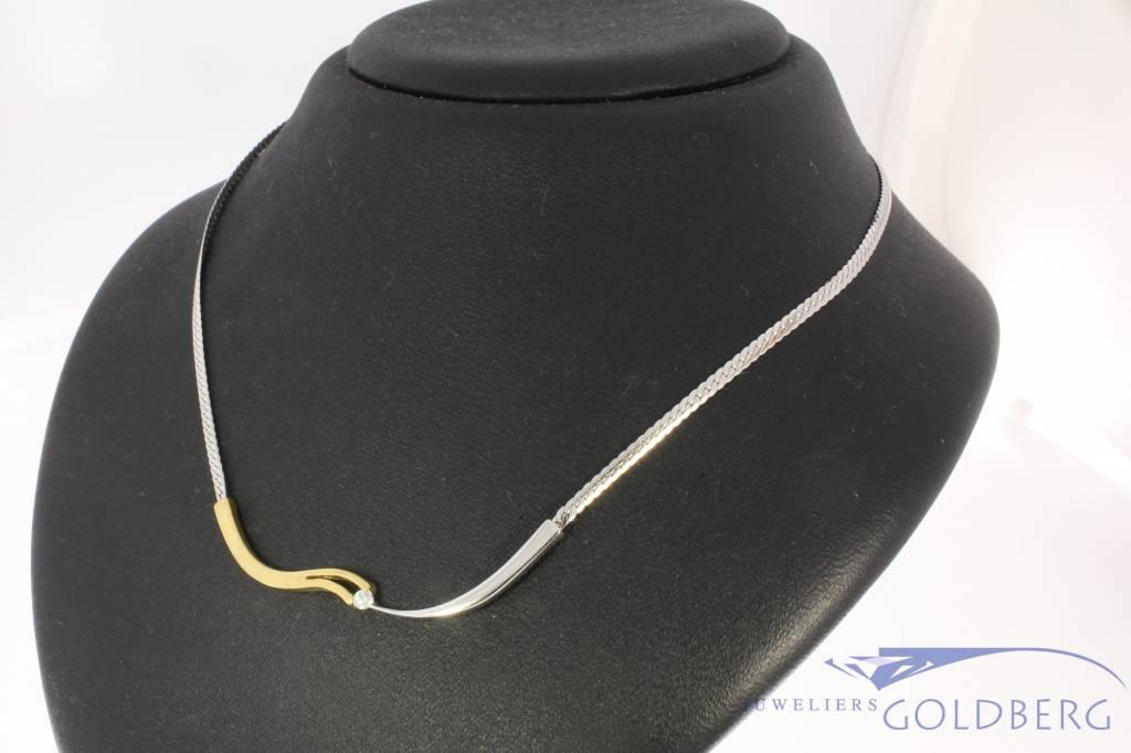 Vintage 14 carat bicolor gold choker necklace with ca. 0.05ct brilliant cut diamond