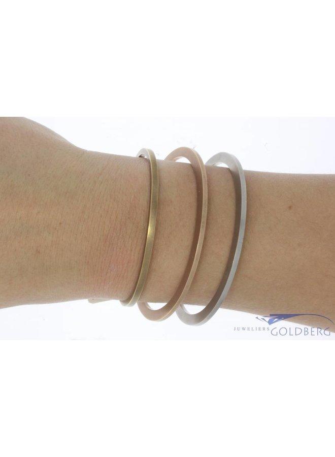Vintage 14k witgouden gematteerde design spang armband
