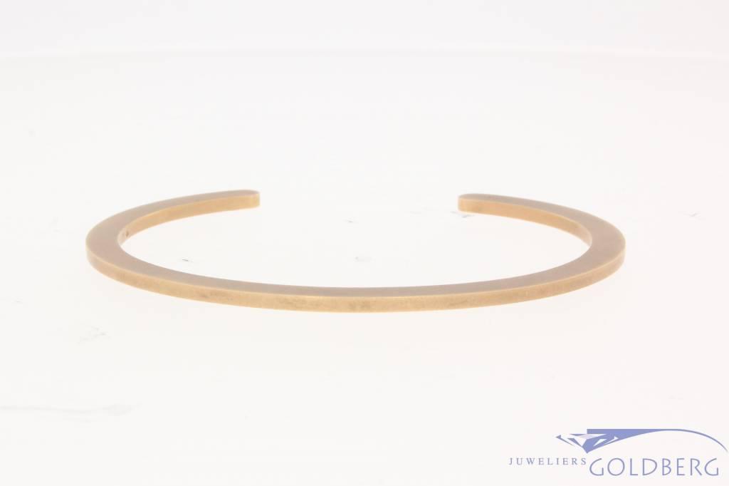 Vintage 14 carat rose gold matted design bangle