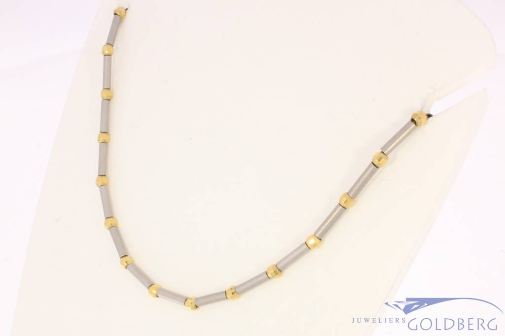 Vintage 18 carat bicolor gold matted necklace