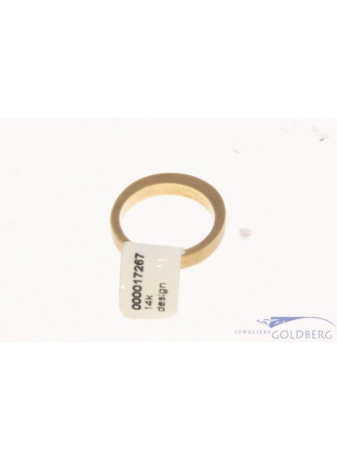 Vintage 18k bicolor gouden gematteerde unisex design ring