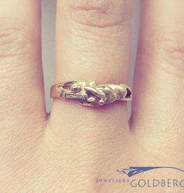 Vintage 18k gouden bewerkte design ring