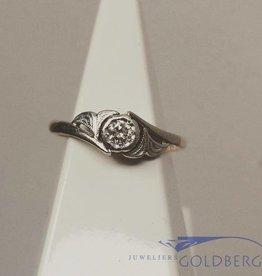 Vintage 18k gouden & platina ring met ca. 0.10ct briljant