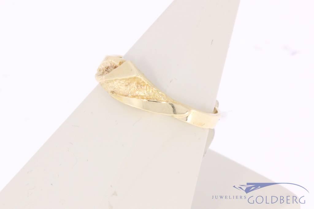 Vintage 14k gouden bewerkte ring