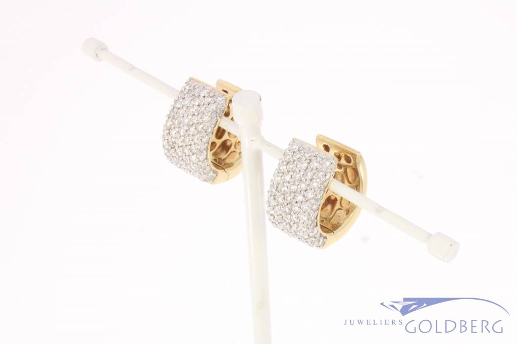 14 carat yellow gold creole earrings with ca. 1.32ct brilliant cut diamond