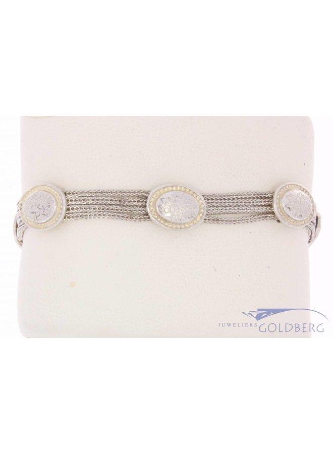 Vintage silver bracelet with adorned ovals