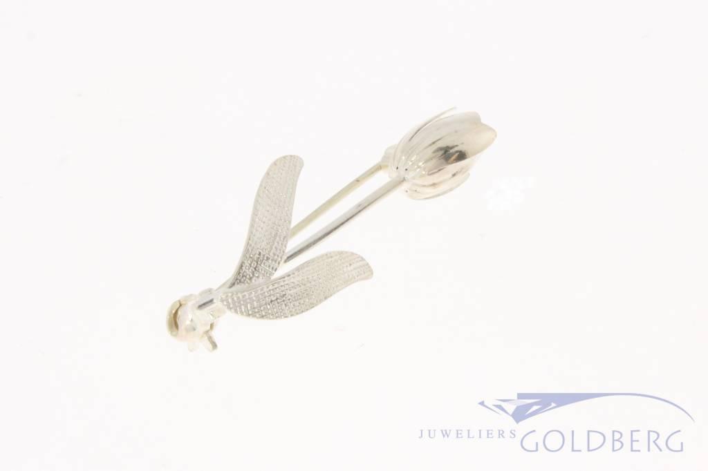 Vintage zilveren tulp broche
