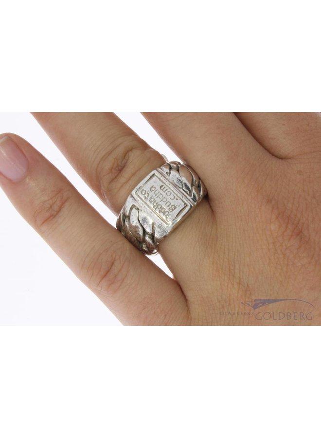 Vintage silver Buddha to Buddha ring
