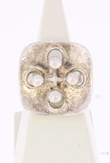 Robuuste vintage zilveren aanpasbare ring