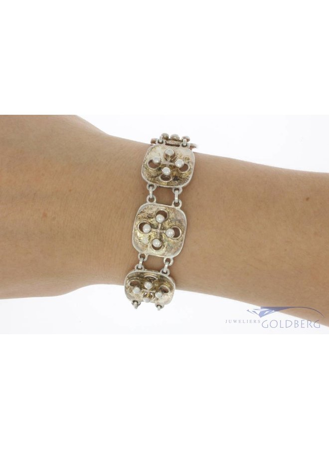 Robuuste vintage zilveren armband