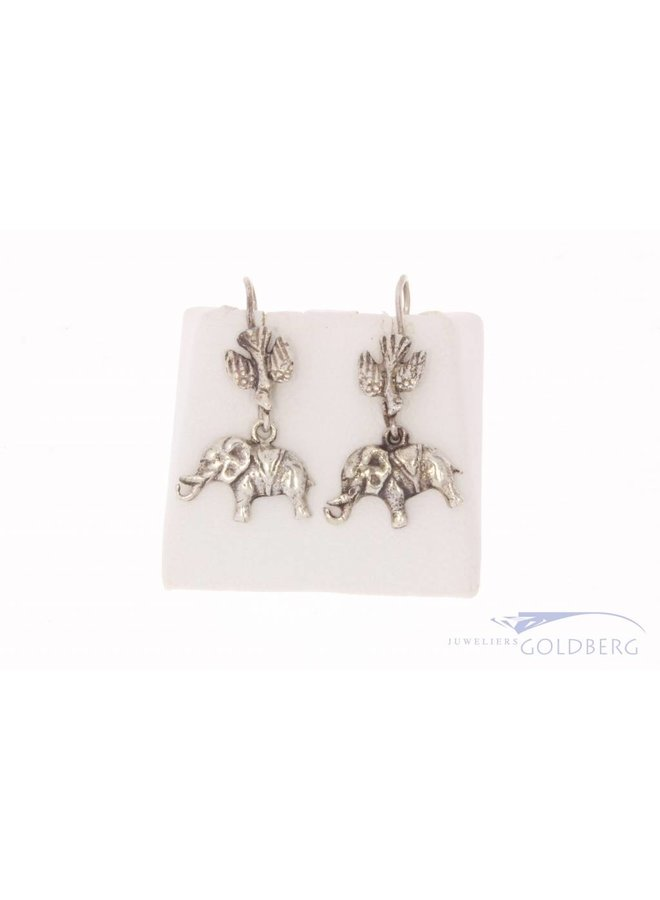 Vintage zilveren oorhangers vogel & olifant