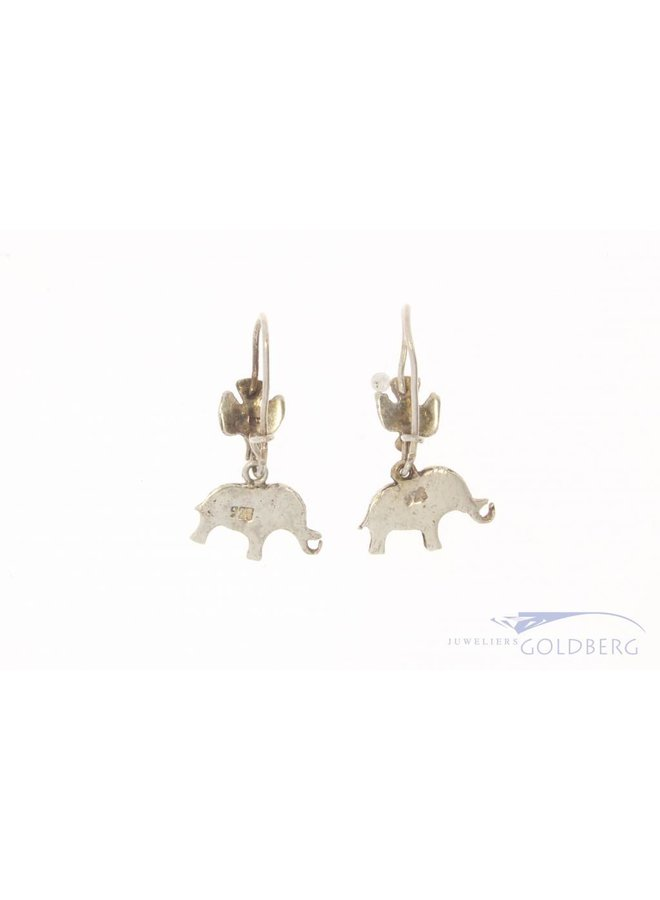 Vintage silver earrings bird & elephant