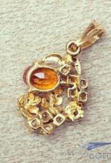 Vintage 20 carat gold vintage pendant with citrine and zirconia